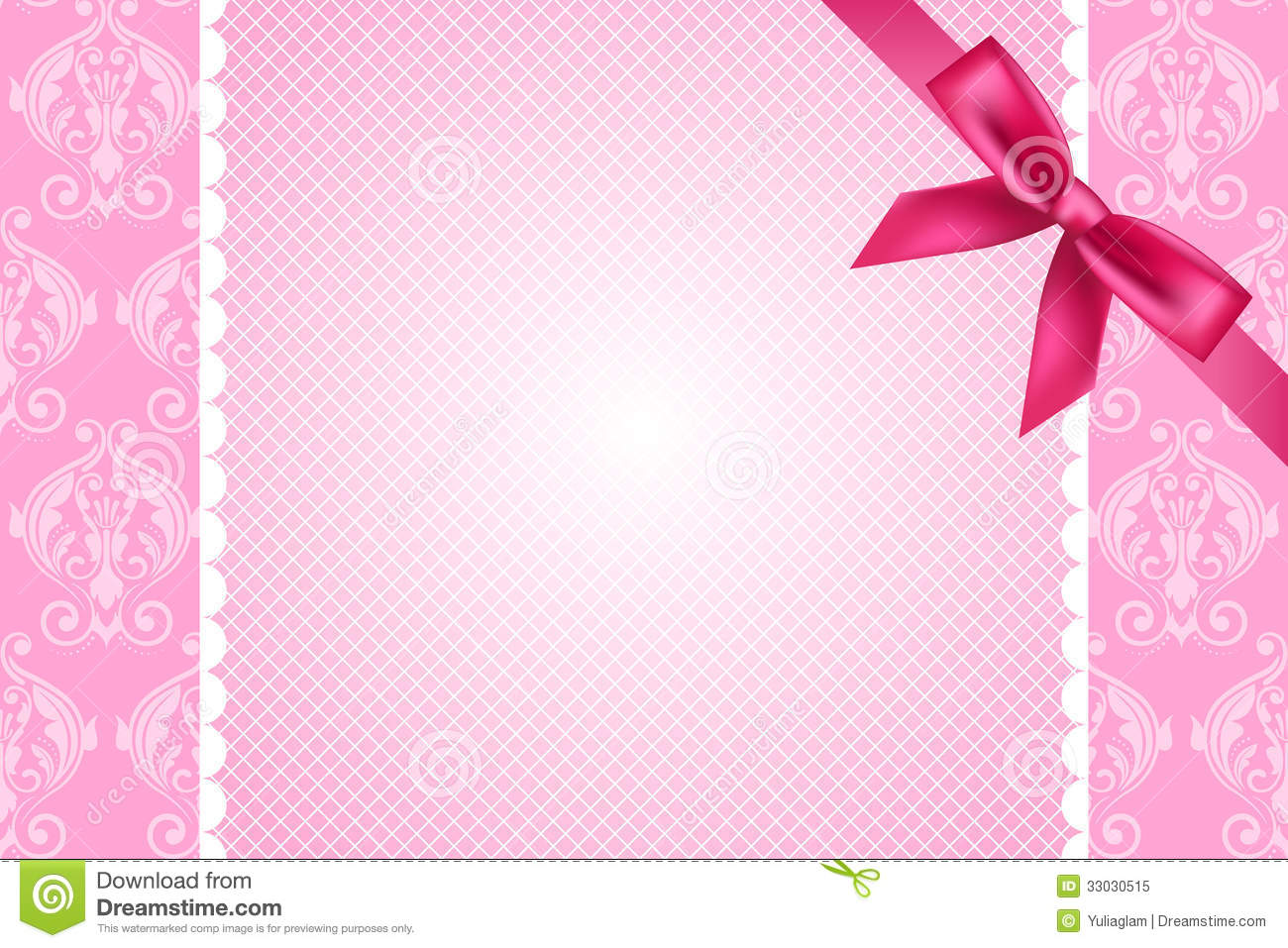 pink background with lace and bow stock vector