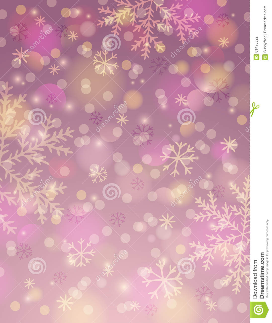 Pink background with snowflake and bokeh, vector