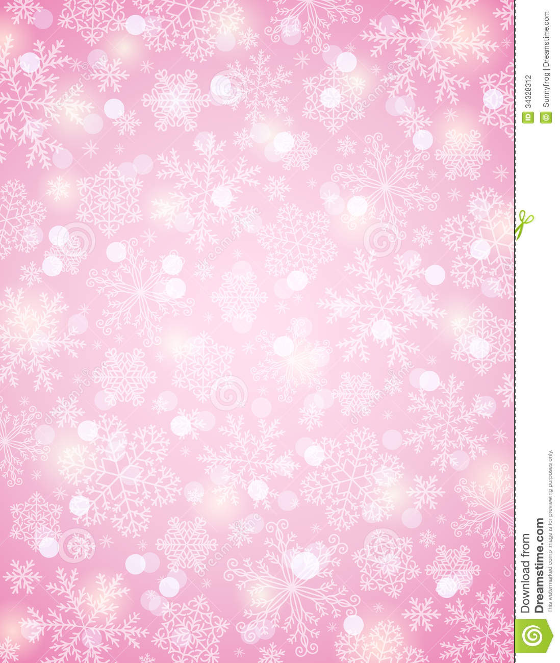 Pink background with snowflakes vector stock photography image
