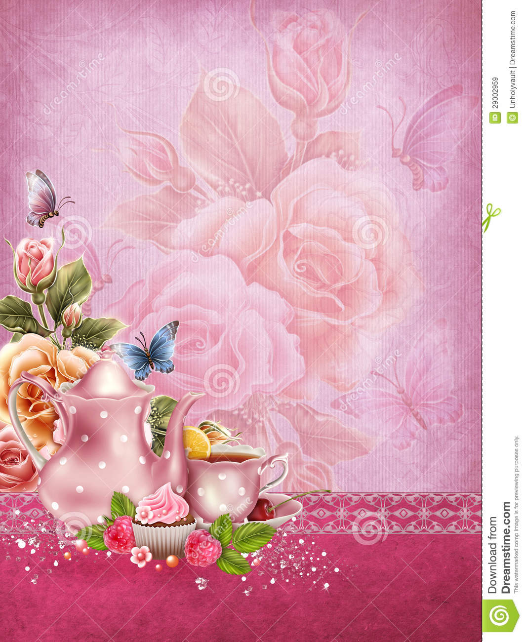 Pink Background With A Tea Pot Royalty Free Stock Images ...