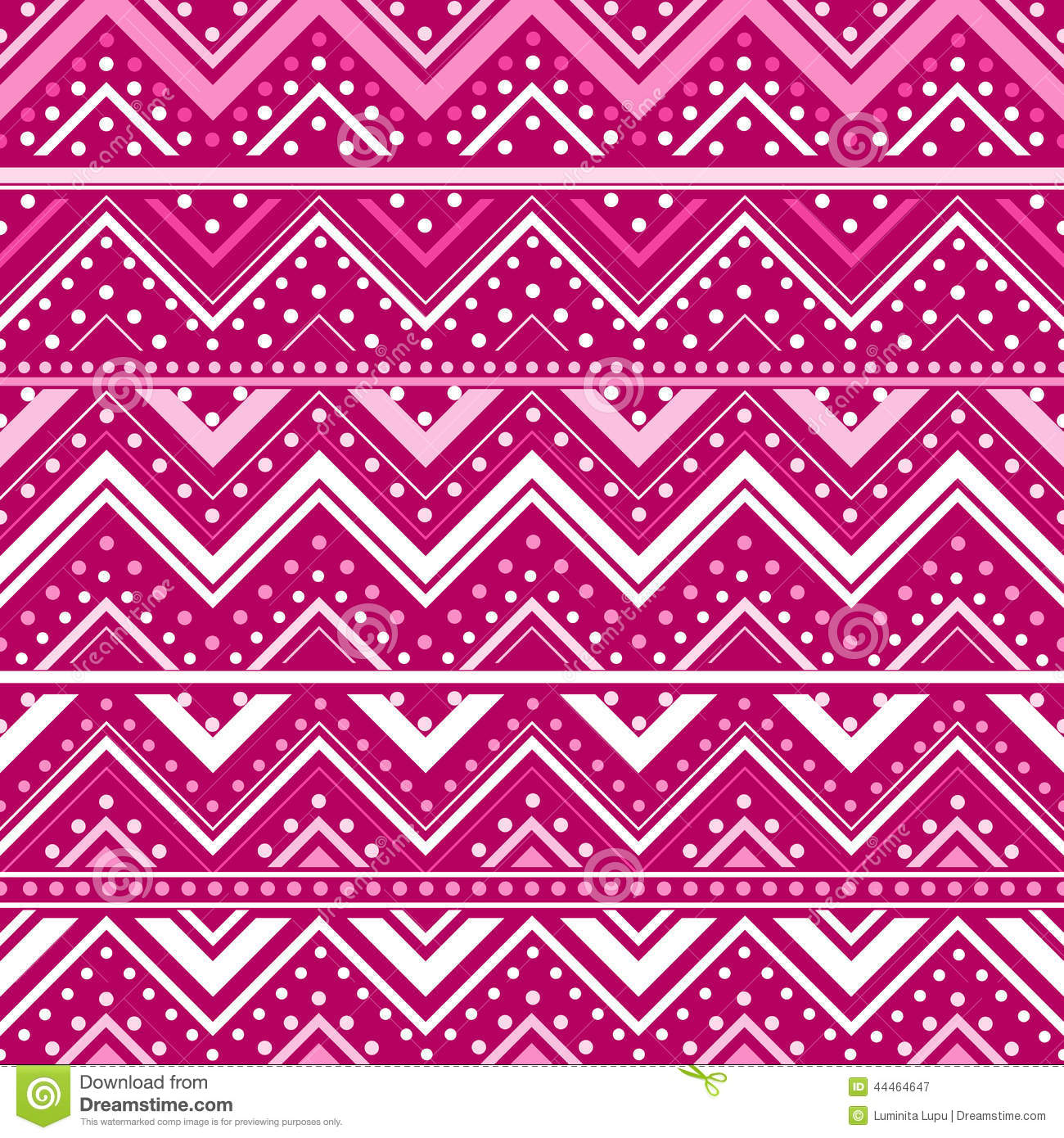 pink background with zig zag lines and dots stock vector