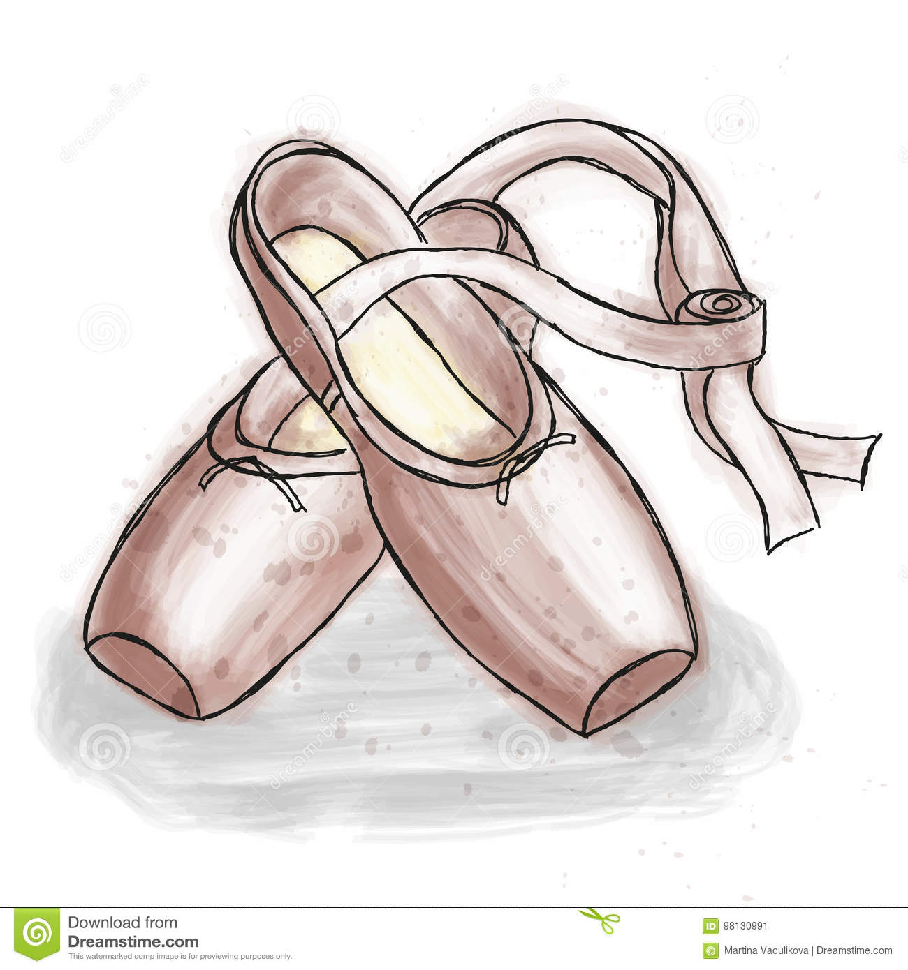 73c50f6694bd6 Pink ballerina shoes. Ballet pointe shoes with ribbon. Royalty-Free Vector
