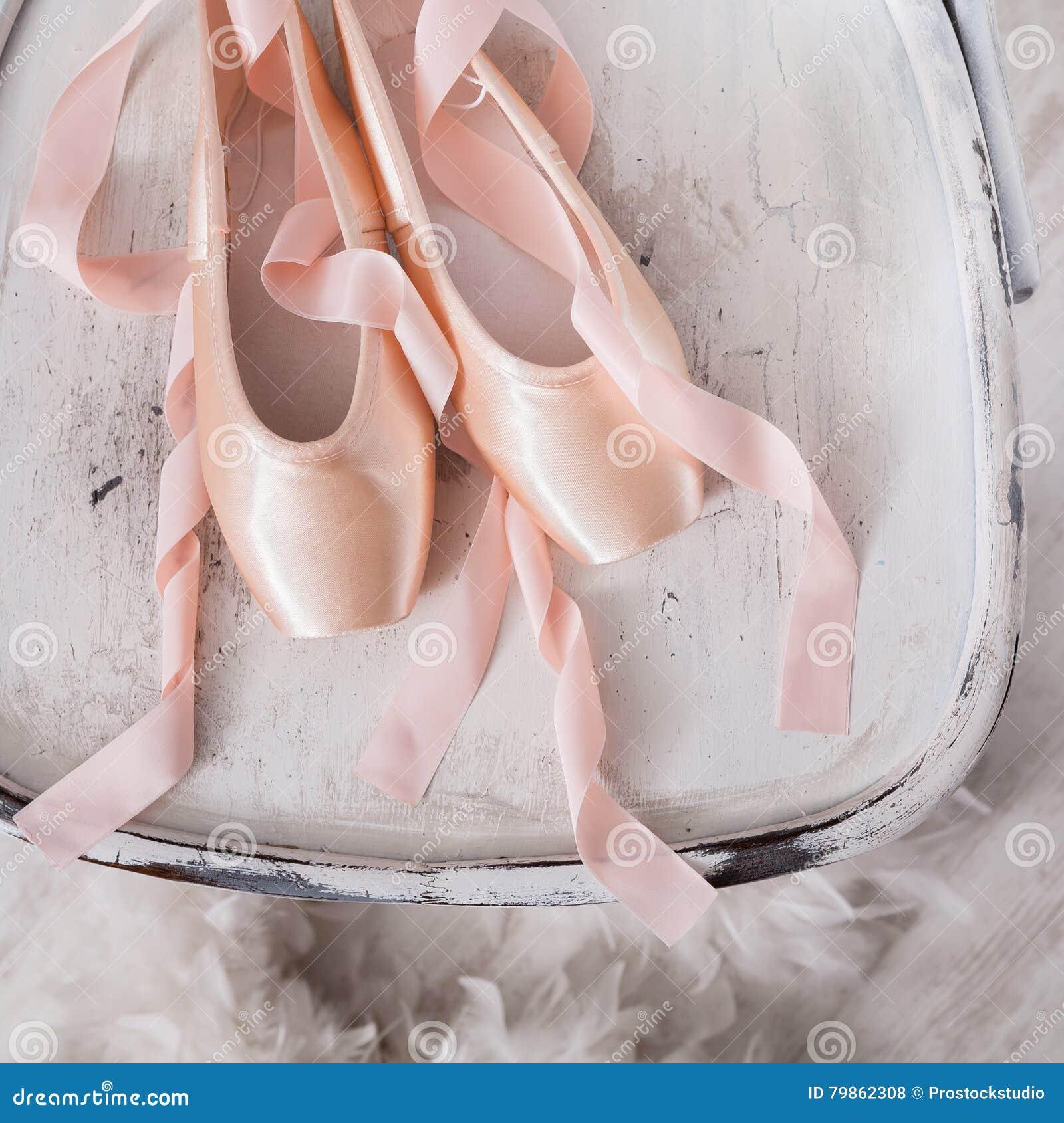 White Satin Ballet Shoes With Ribbon