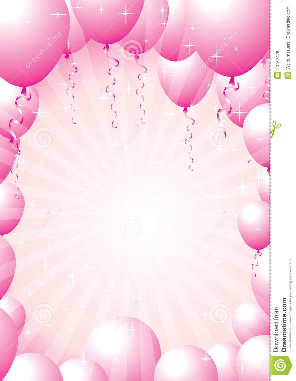 Pink Balloon Border Stock Vector Illustration Of Valentine
