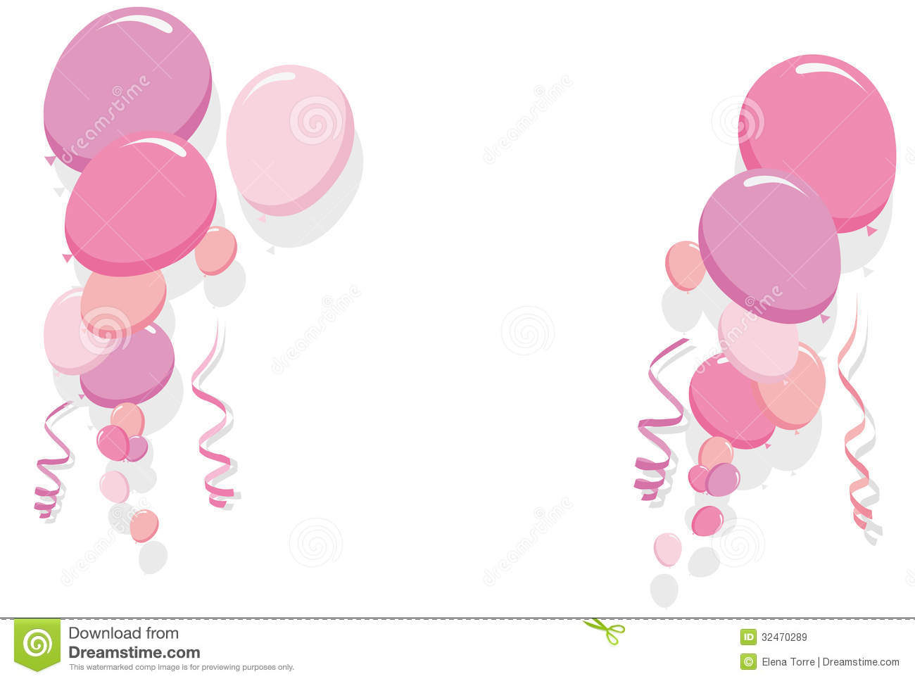 Pink Balloons Border Vector Stock Vector