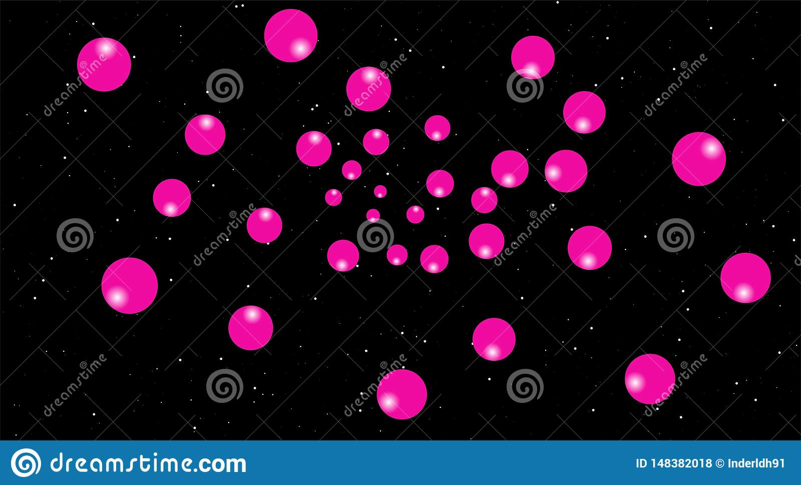 Pink Balloons In Night Scenes Black Background Pink Moon