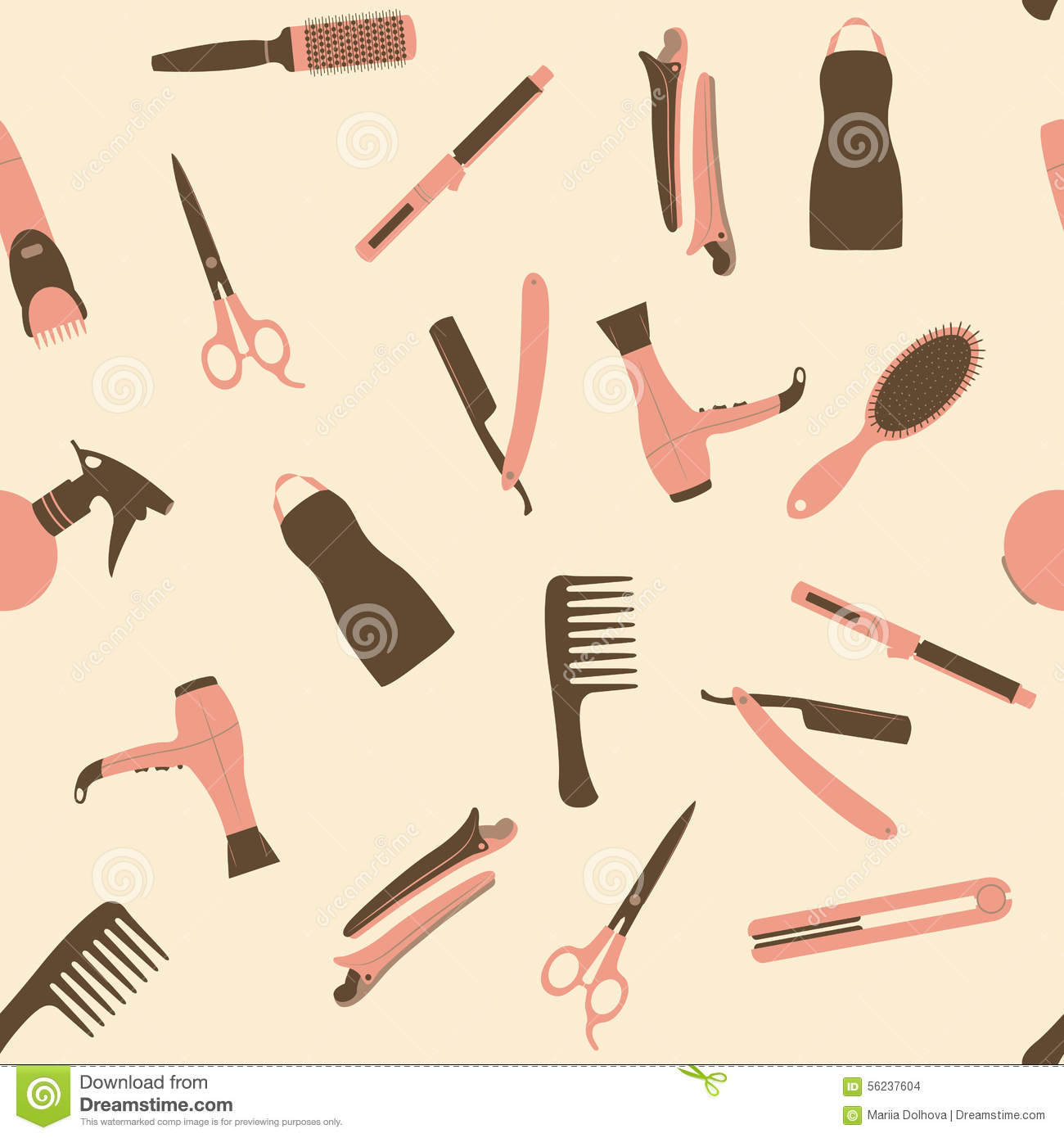Pink barber shop seamless vector pattern.