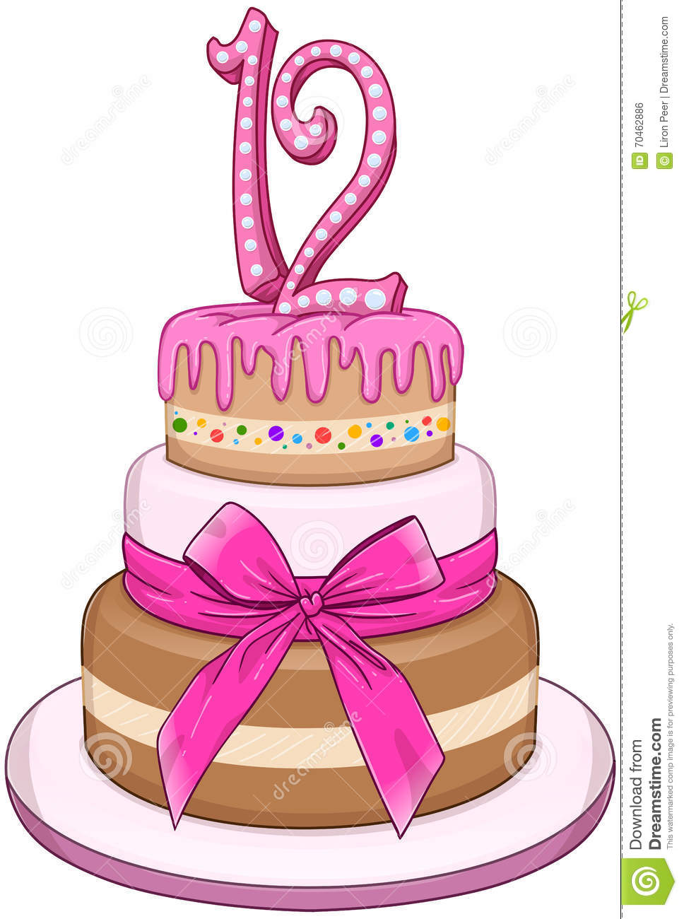 Pink Bat Miztvah Cake For 12th Birthday Stock Vector ...