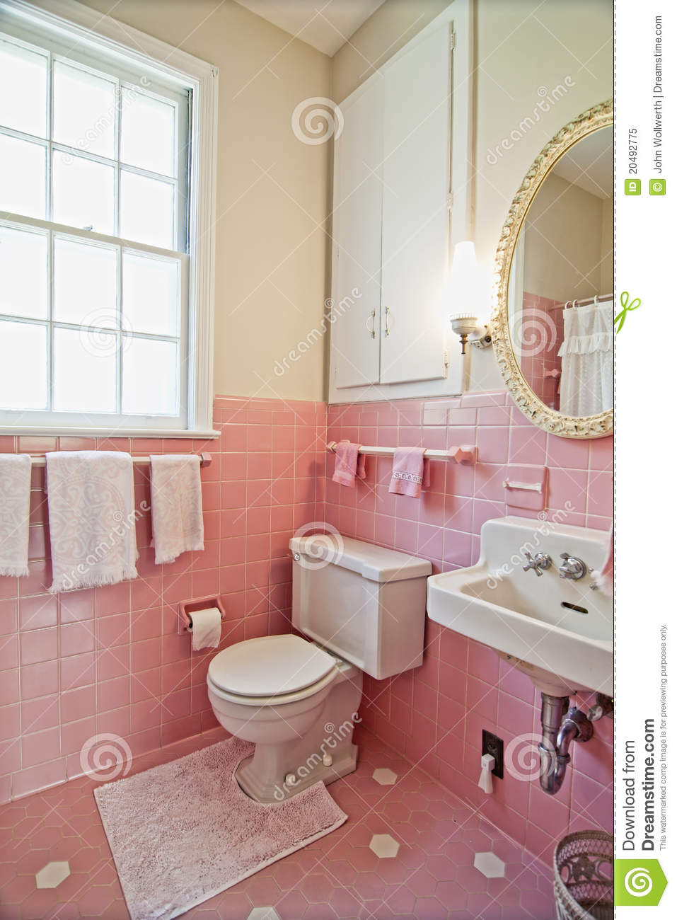 Pink bathroom stock image image of dated ugly room Pink bathroom ideas pictures