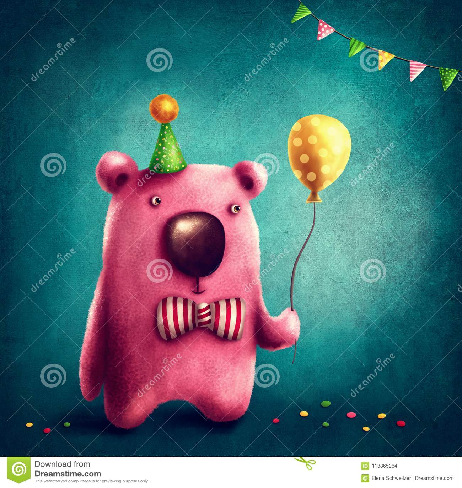 Pink bear and balloon
