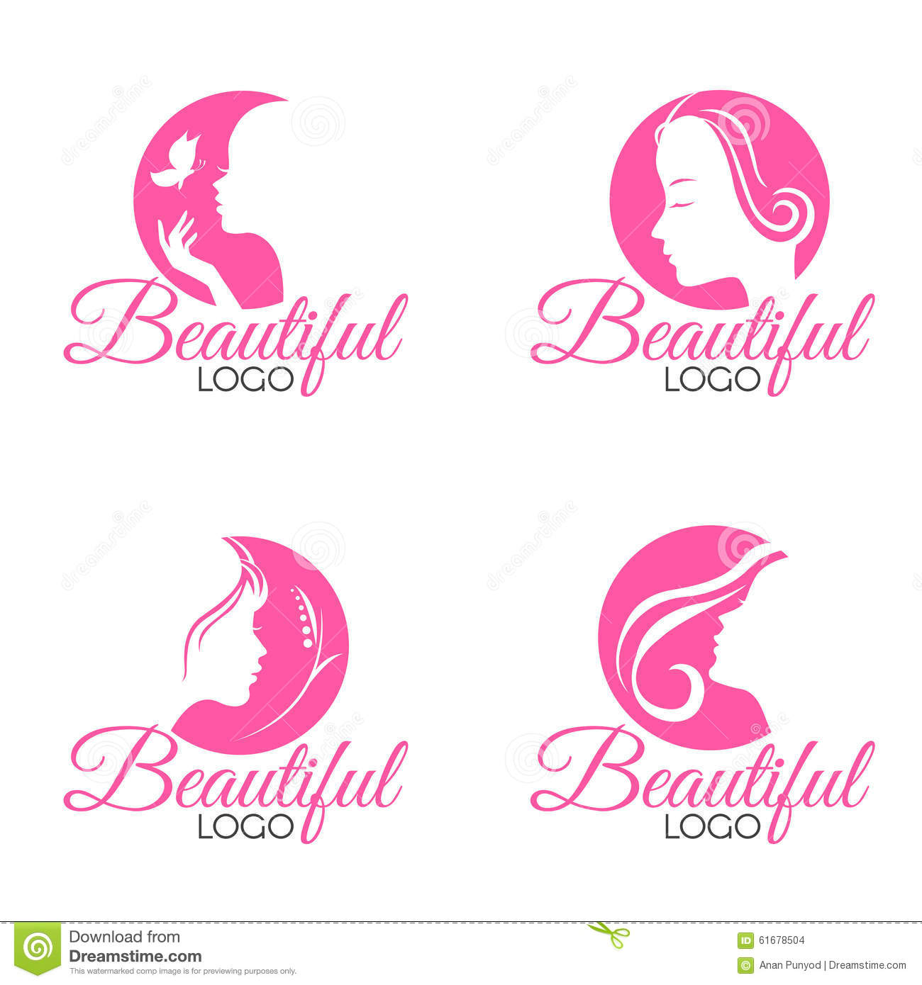 pink beautiful face lady woman logo vector set design