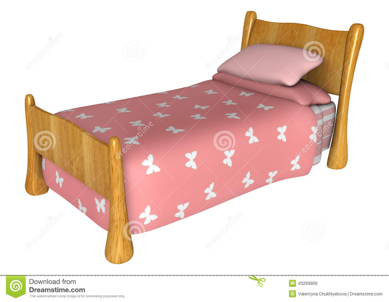 pink bed stock illustration image 43269909. Black Bedroom Furniture Sets. Home Design Ideas