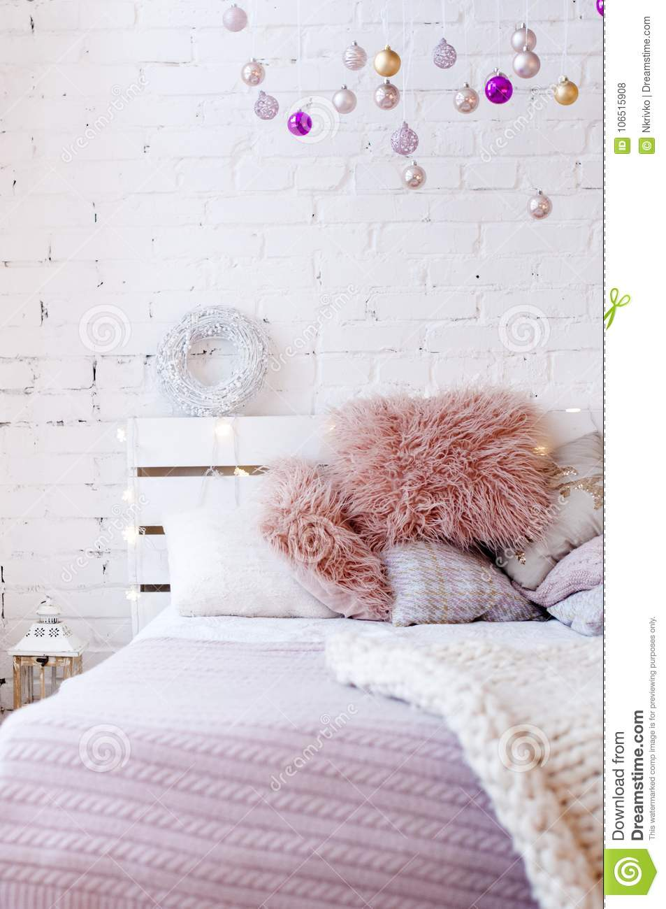 Pink Bedroom Decorated With Christmas Decor Stock Photo ...