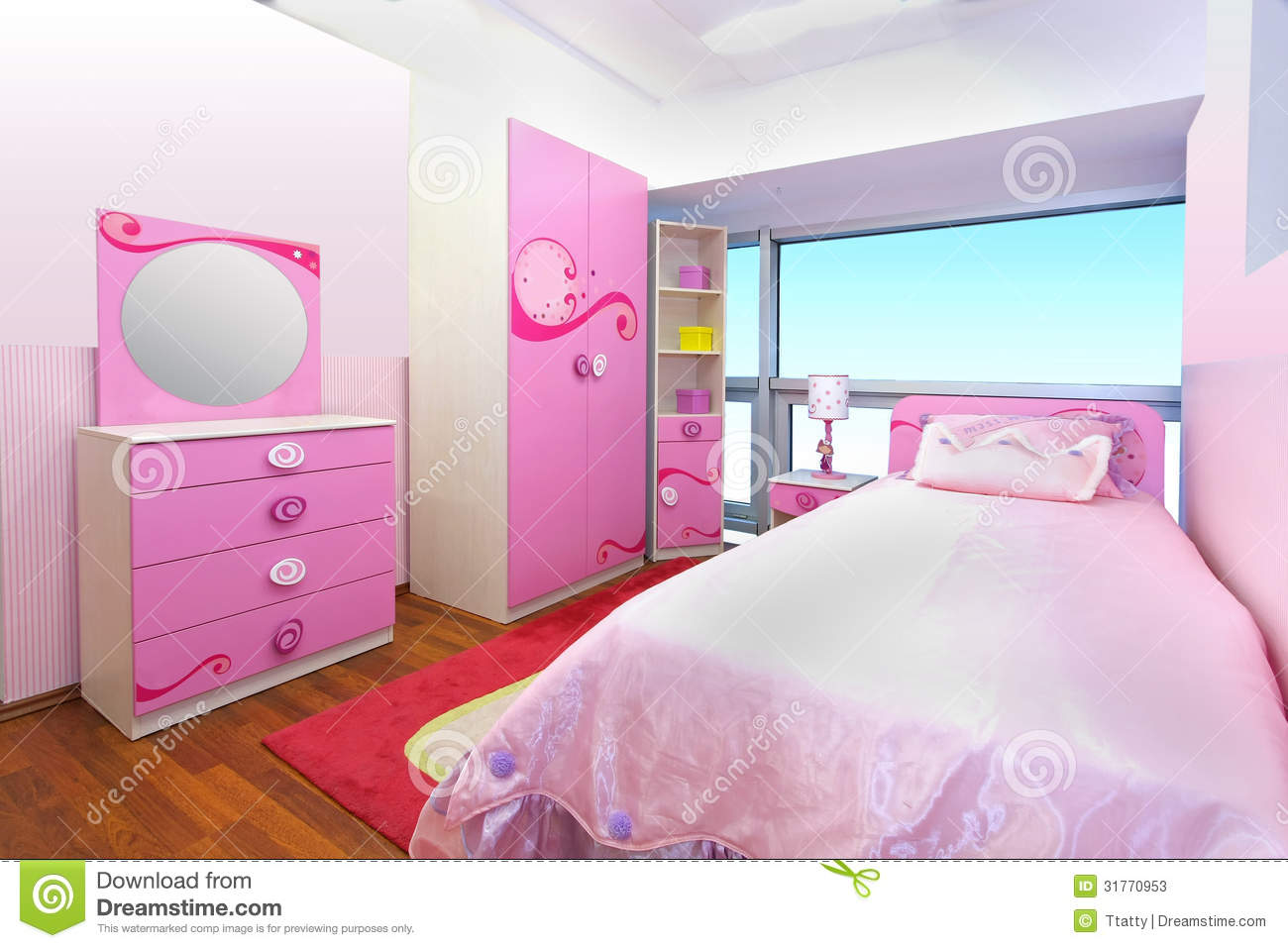 pink bedroom stock photos image 31770953