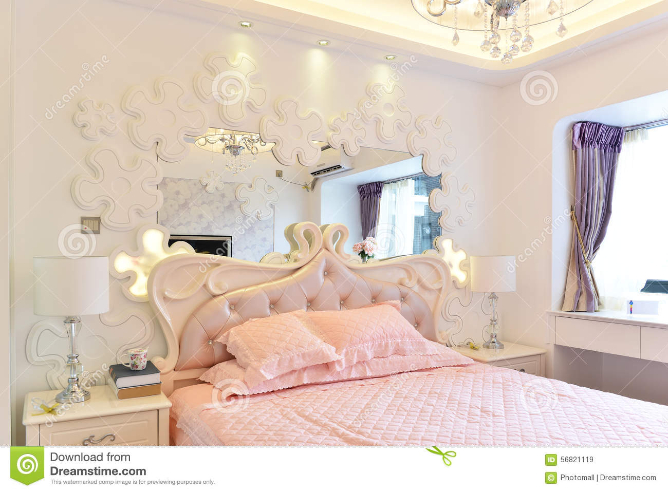 Pink bedroom stock image. Image of gold, bedroom, home - 56821119