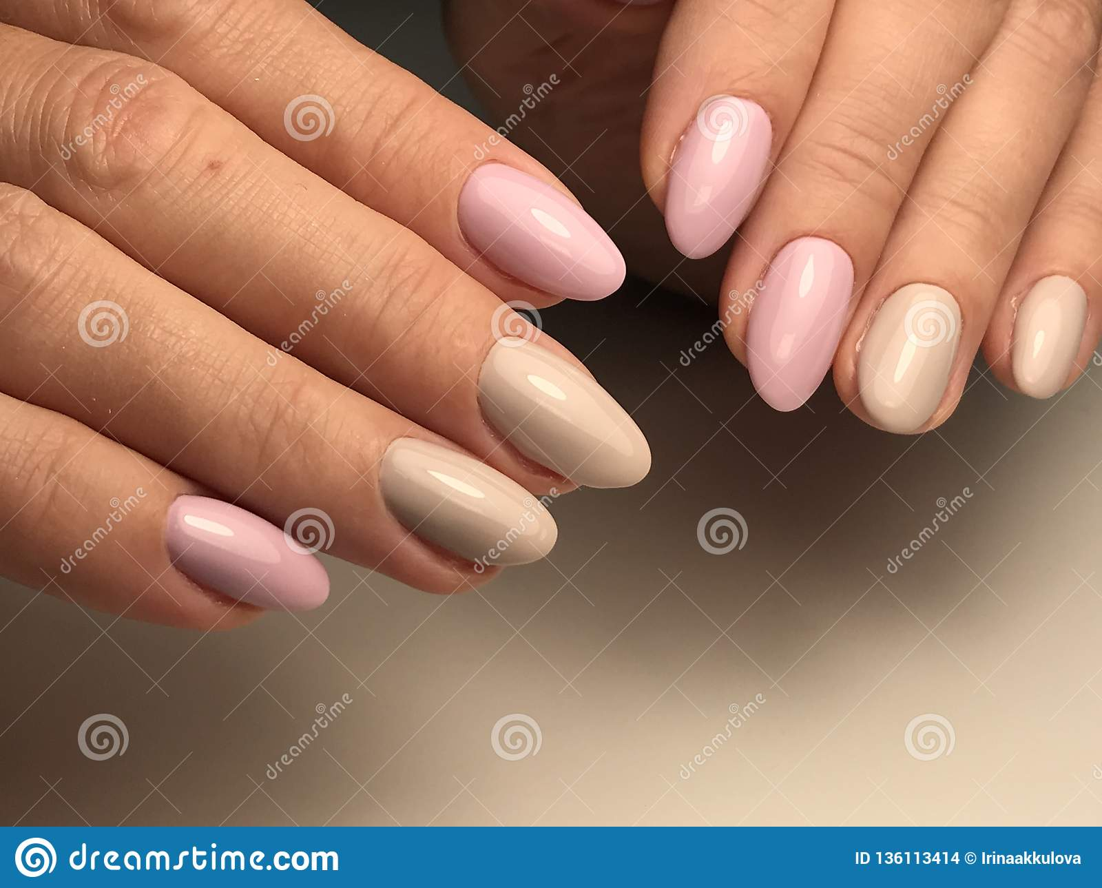 Pink And Beige Nails Gel Polish Stock Photo Image Of Nail