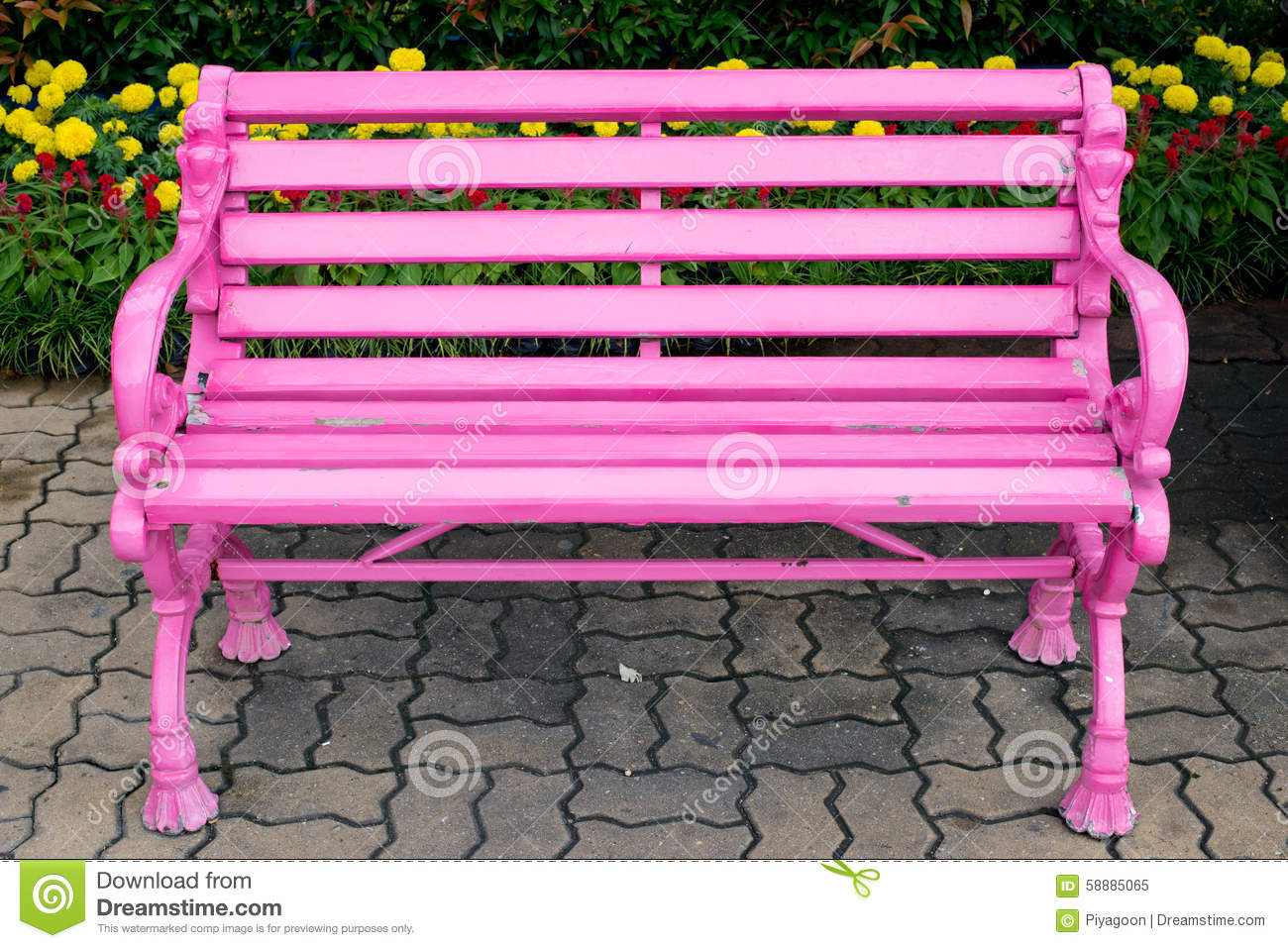 Pink Bench Stock Photo Image 58885065