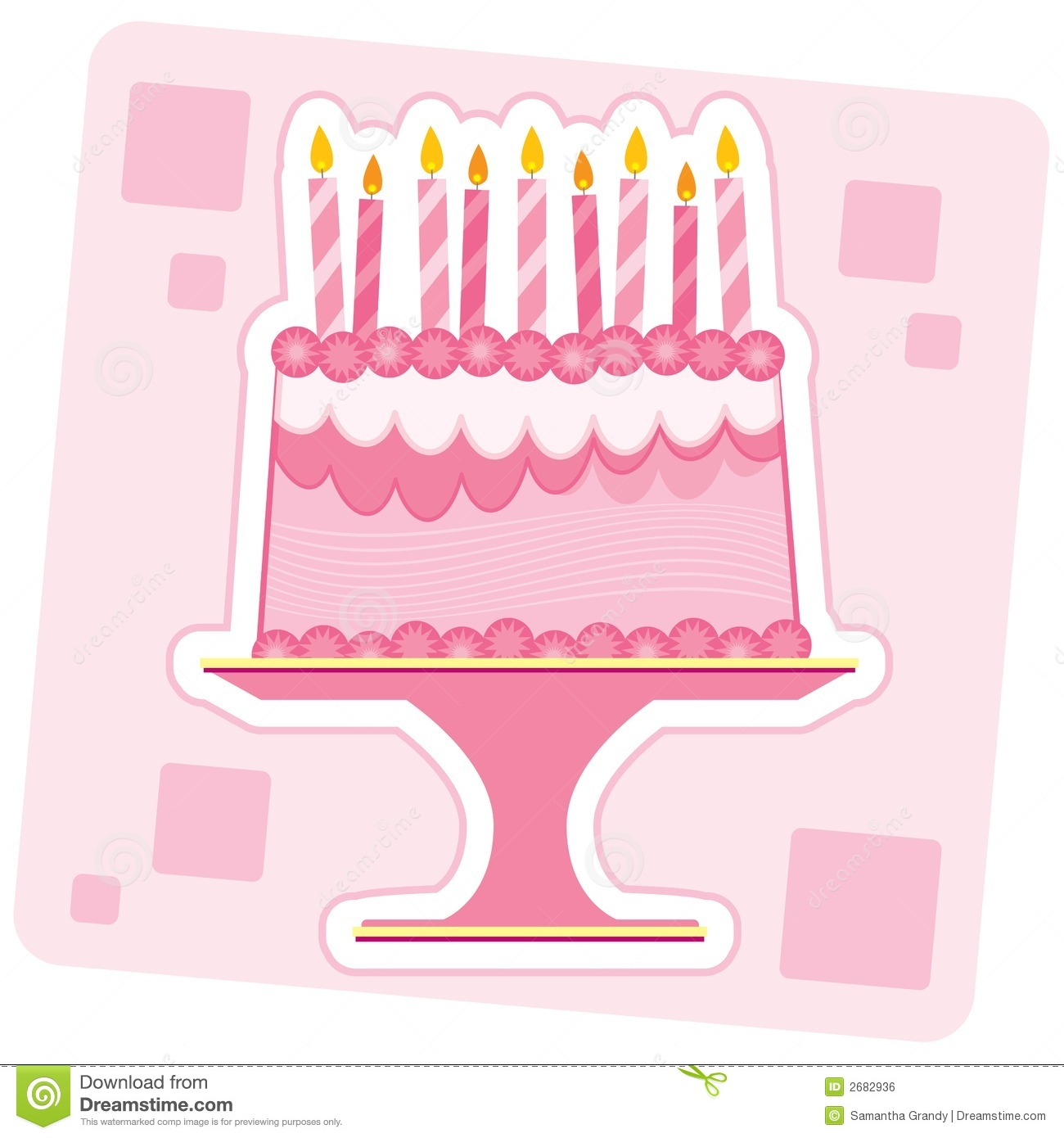 Royalty Free Birthday Images ~ Pink birthday cake stock vector image of treat yellow