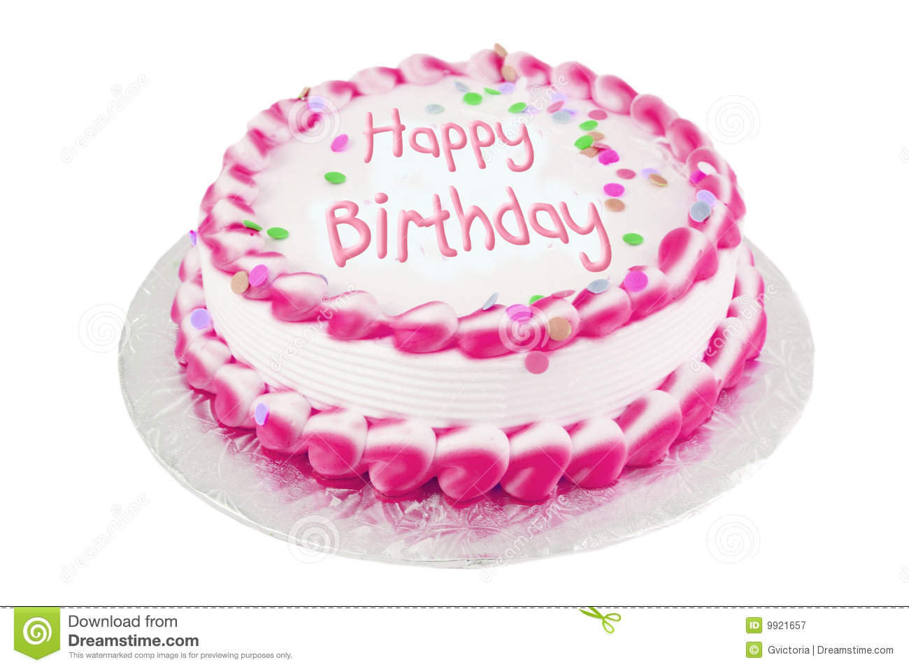 Birthday Cake Frosted Happy Pink