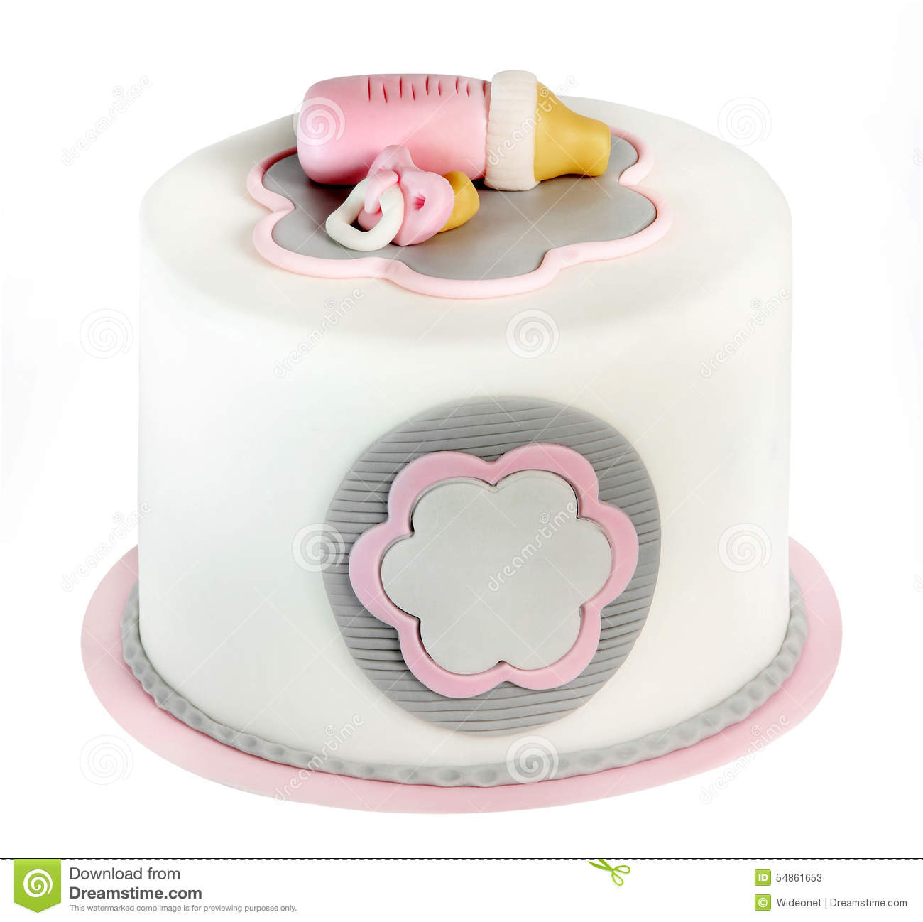 Pink birthday cake for baby isolated on white background