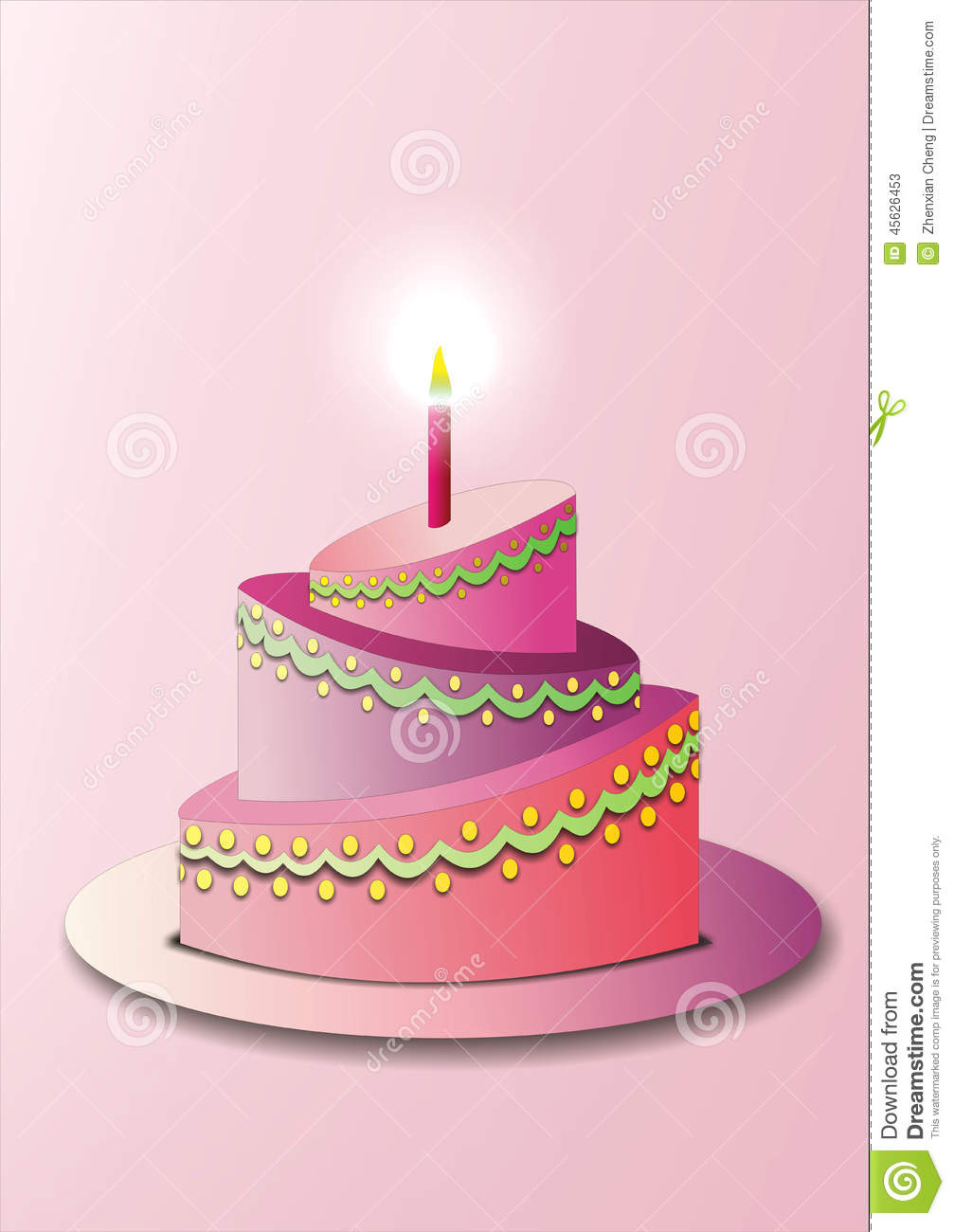 Red Colour Cake Images : Pink Birthday Cake Stock Illustration - Image: 45626453