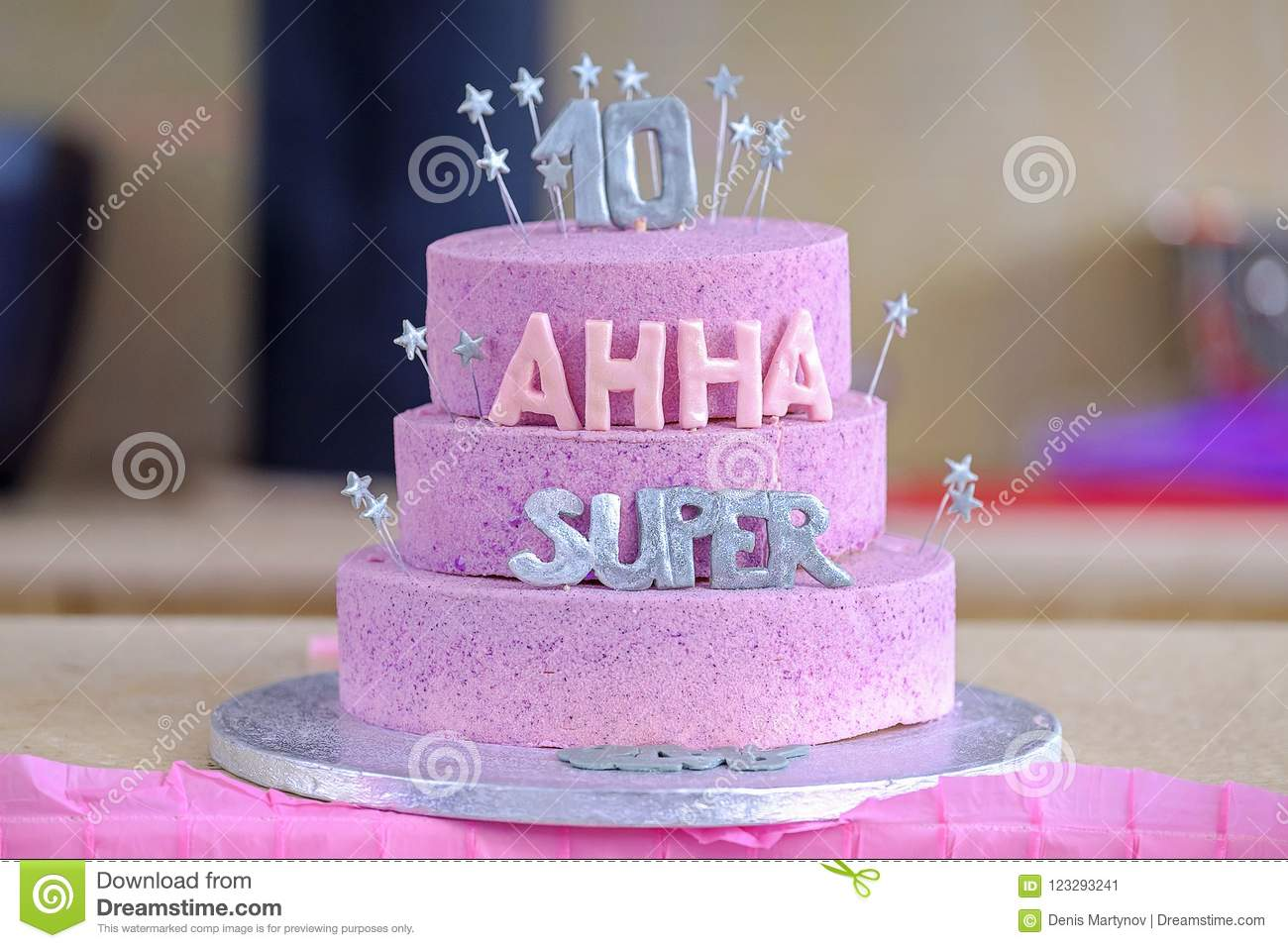 Birthday Cake Pink Sparkly Stock Images