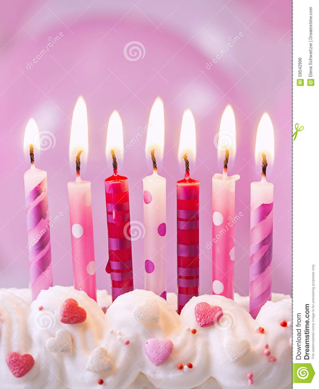 Pink Birthday Candles Stock Photo Image 59542996