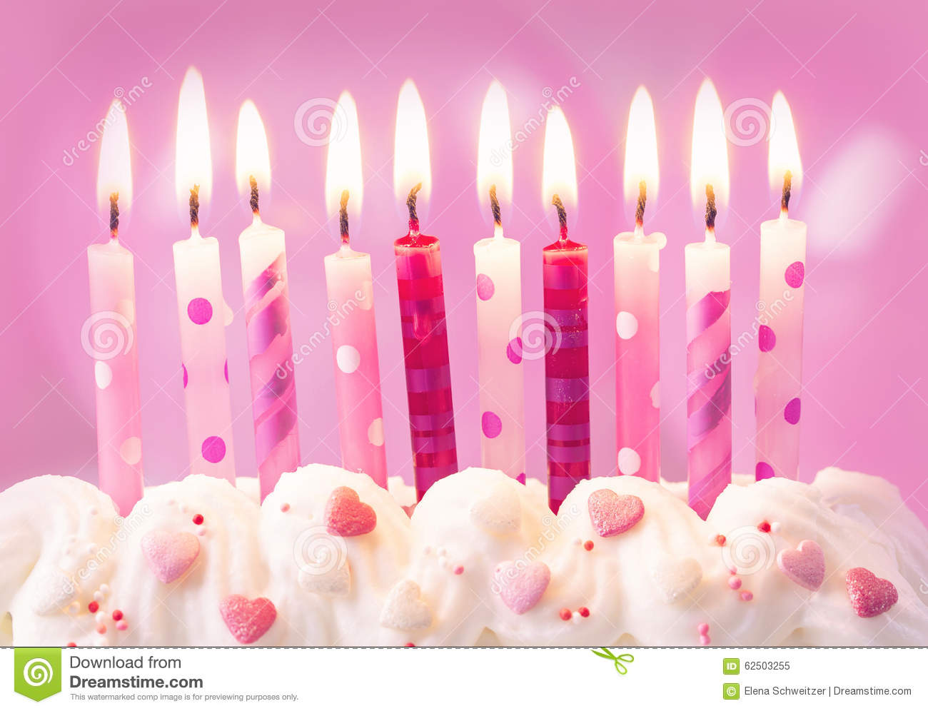Pink Birthday Candles Stock Photo Image 62503255