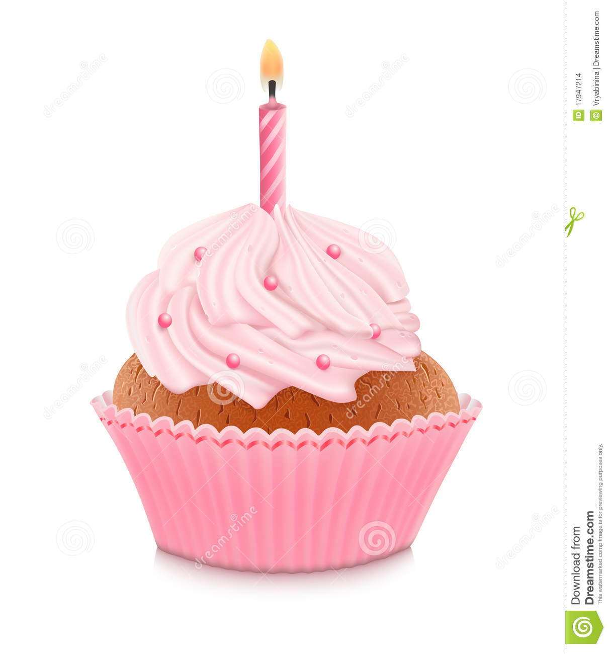Pink Birthday Cupcake Royalty Free Stock Photography