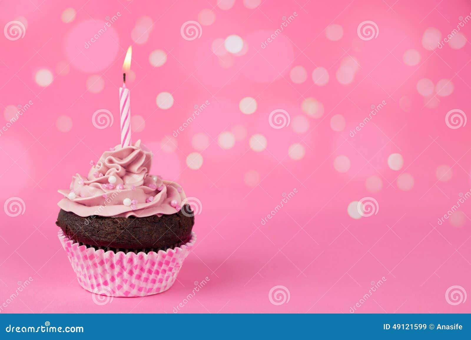 Pink Birthday Cupcake With Lights Stock Image Image