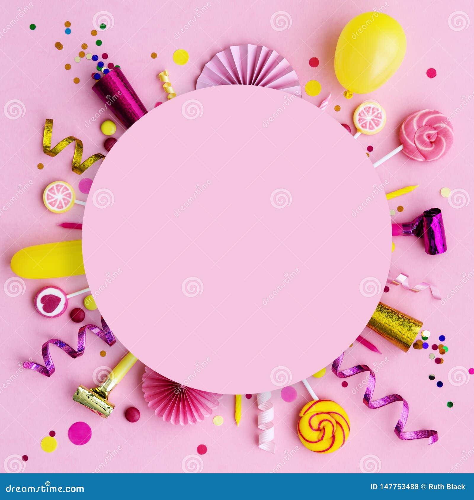 Pink birthday flat lay background