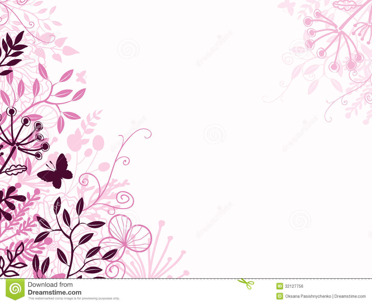 Pink And Black Floral Background Backdrop Stock Vector