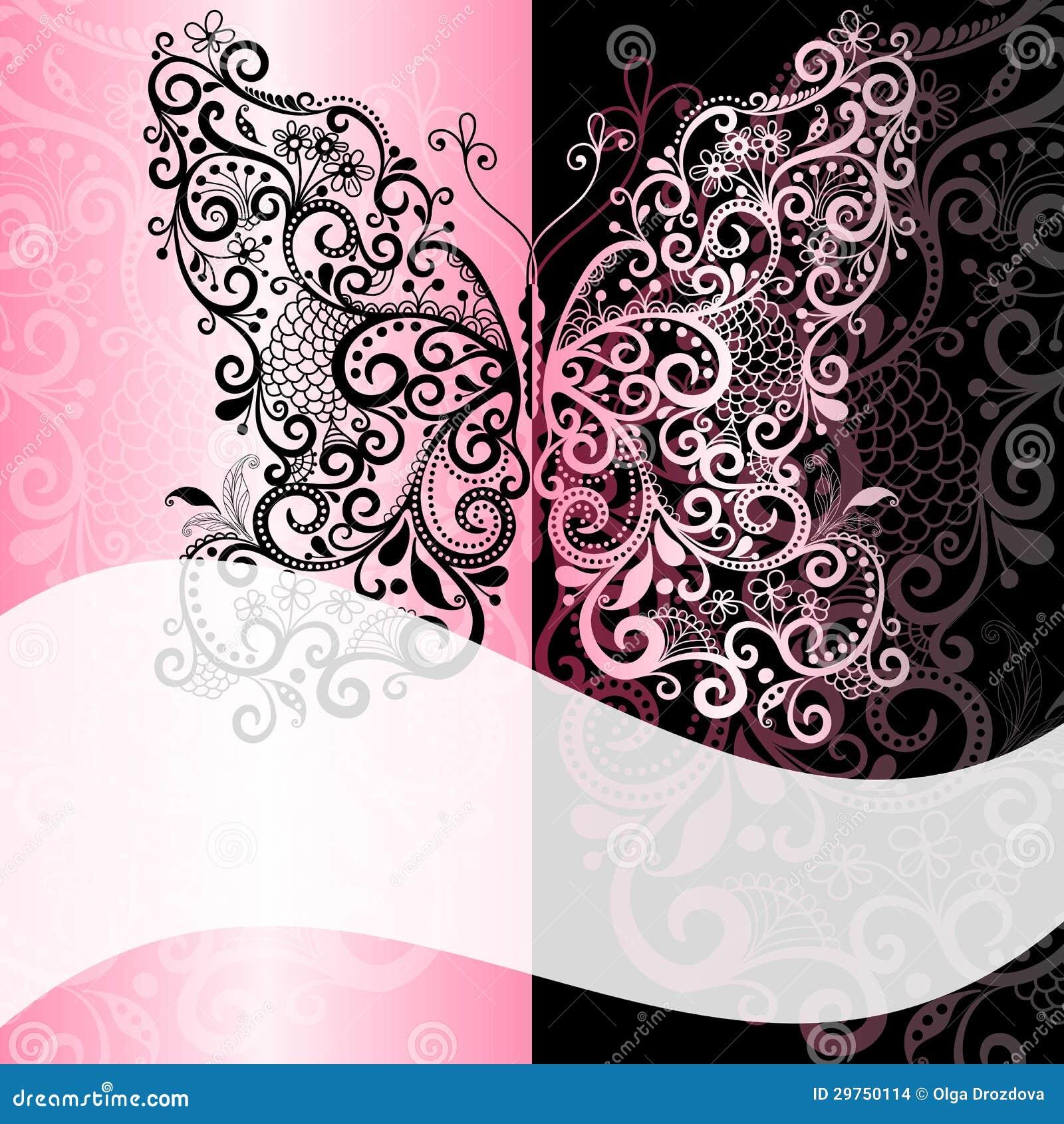 Black Pink Vintage Scroll Swirl Frame Stock Illustrations 89 Black