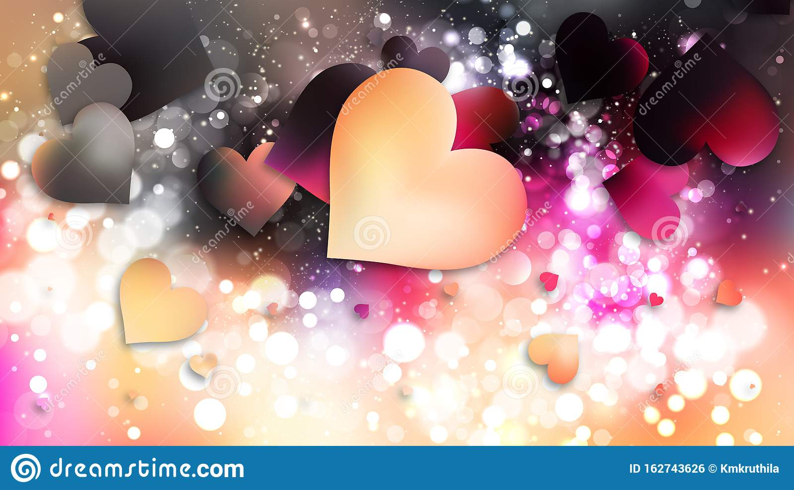 Pink And Black Heart Wallpaper Background Image Stock Vector Illustration Of Romance Happy 162743626