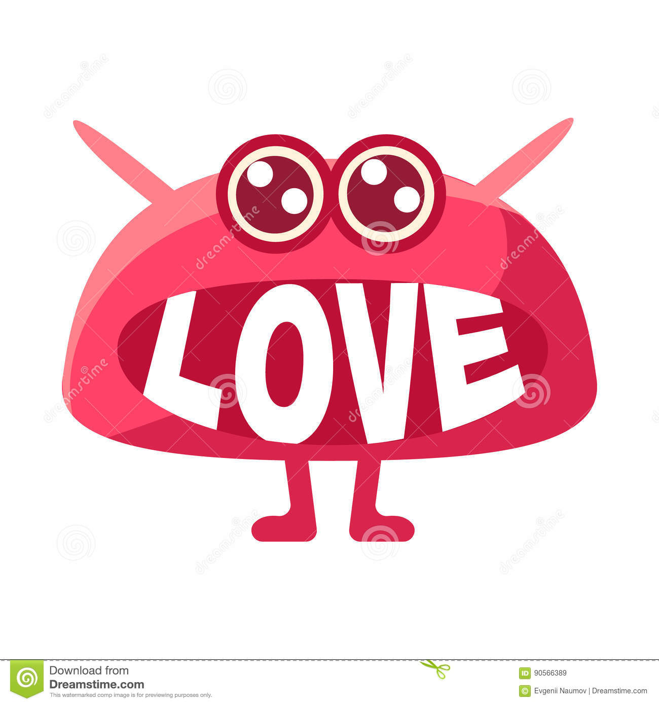 pink blob saying love cute emoji character with word in the mouth