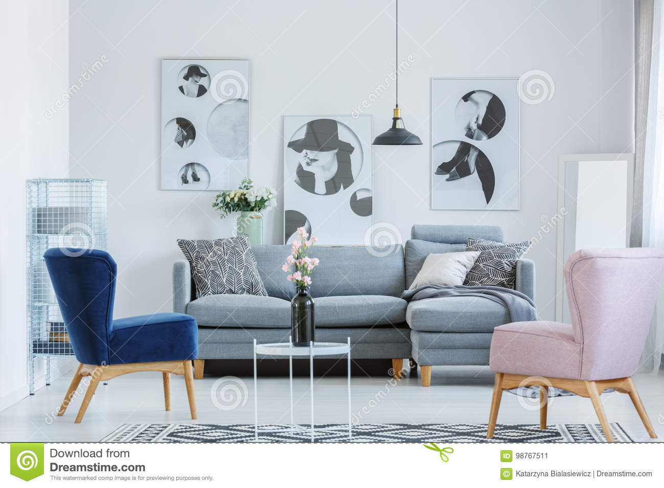 Pink And Blue Armchair Stock Image Image Of Lamp Flat 98767511
