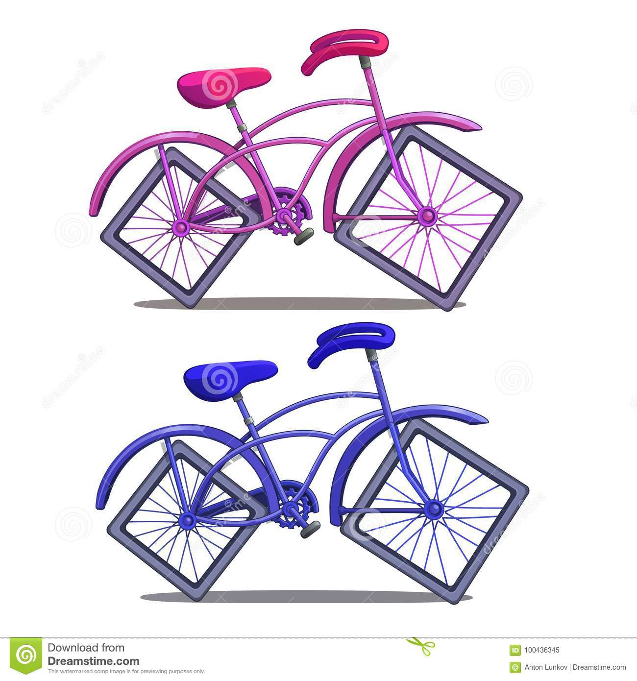 Pink and blue bicycle with square wheels isolated on white background