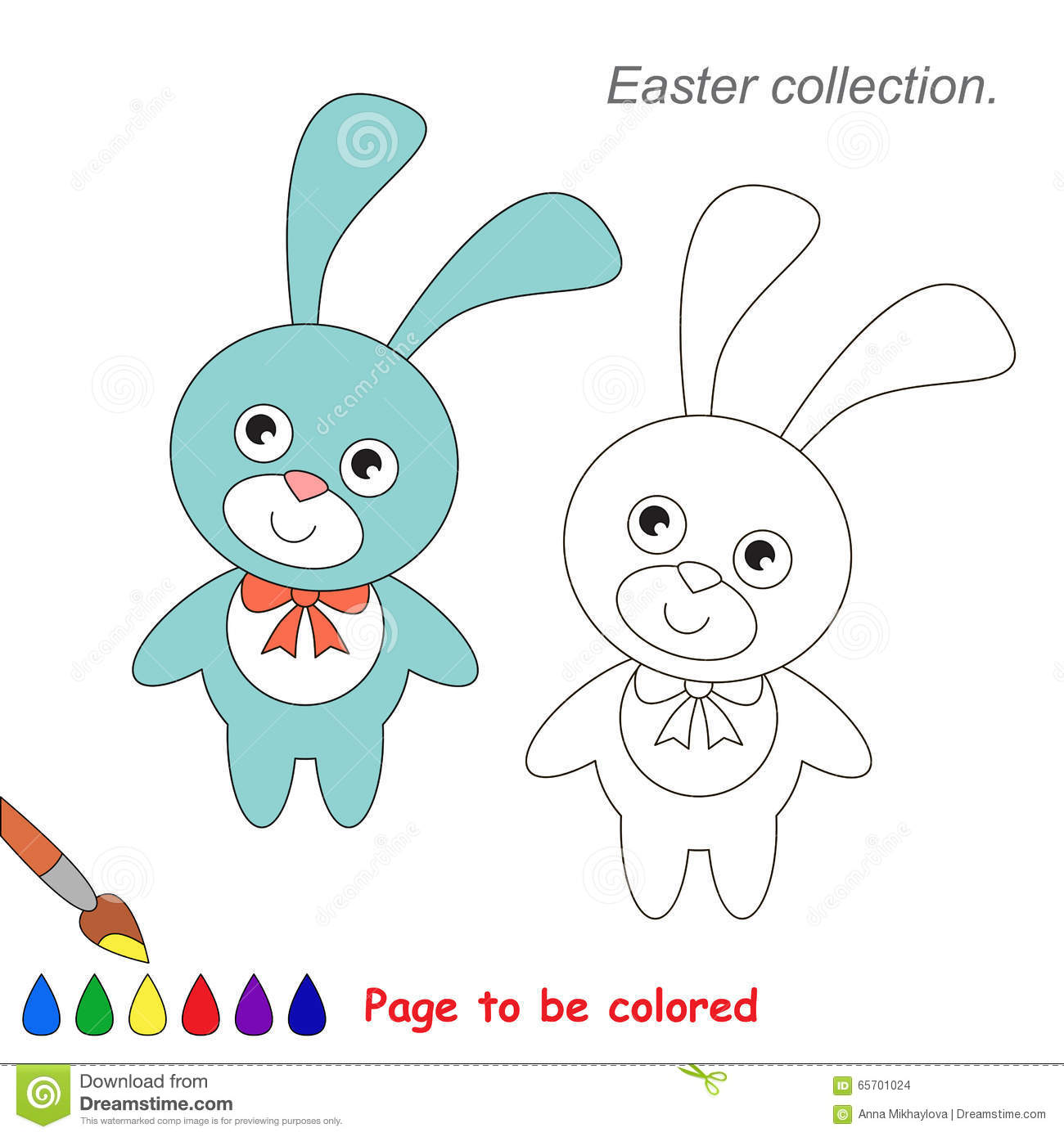 Fuchsia Coloring Page For Kids: Pink And Blue Bunny To Be Colored. Game For Kids. Stock