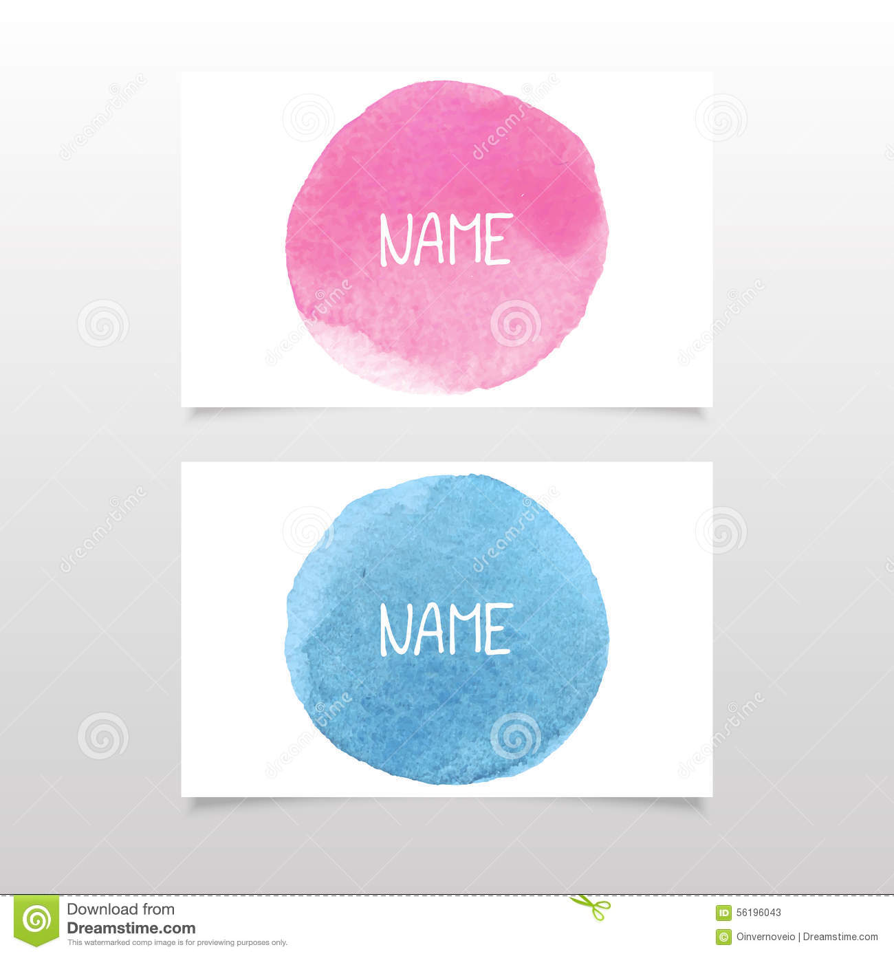 Pink and blue business card vector watercolor stock vector image pink and blue business card vector watercolor reheart Images