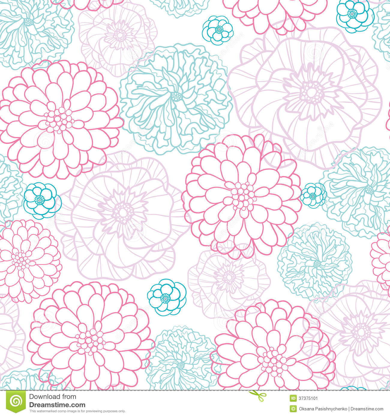 Pink Blue Flowers Lineart Seamless Pattern Stock Vector