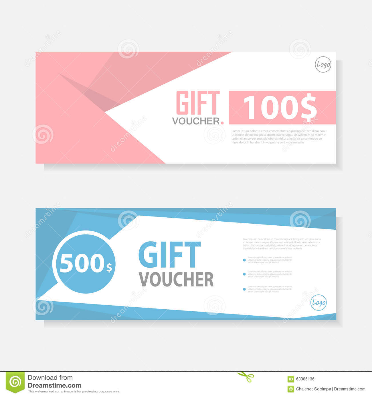 Cute Gift Voucher Certificate Coupon Design Template Stock Vector
