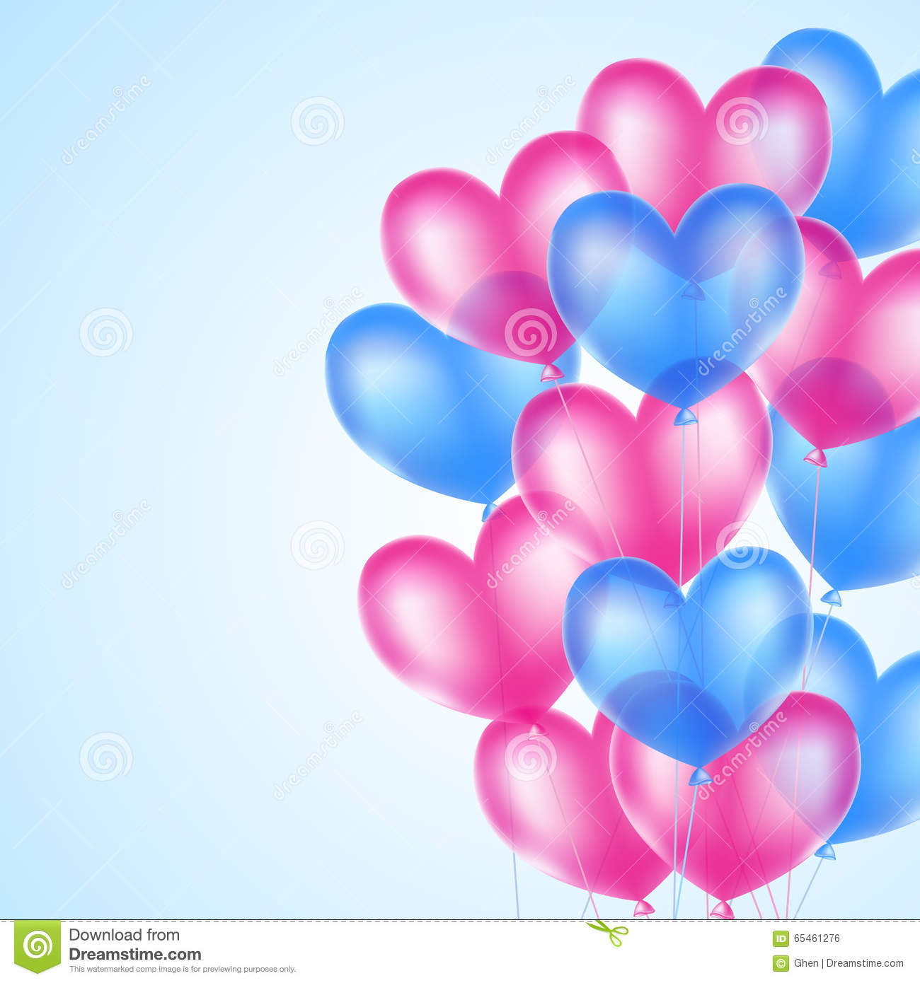 pink and blue heart balloons stock photo image 65461276