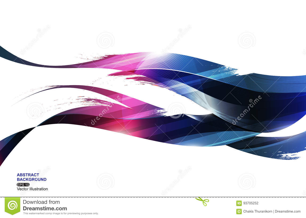 Pink Blue Ink Stripe Wave Abstract Background, concept fire, vector illustration