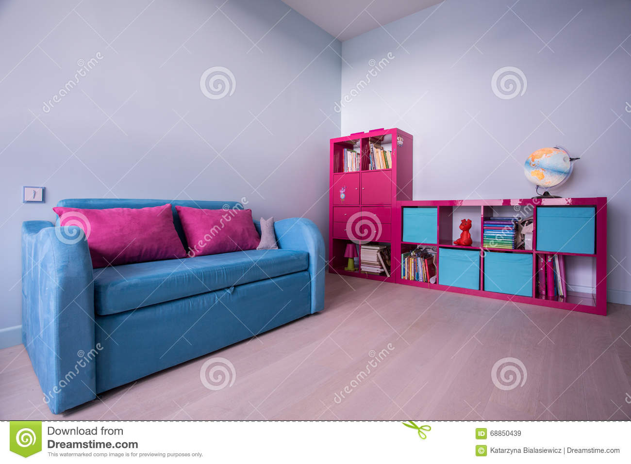 Pink and blue kids furniture stock image image of globe for Pink kids room