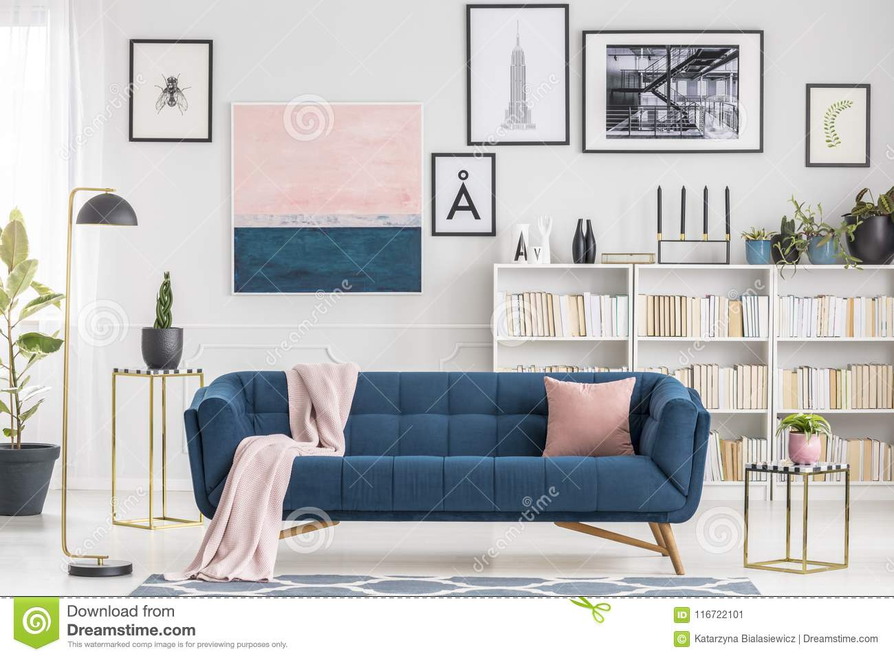 Pink and blue living room stock image. Image of room - 116722101