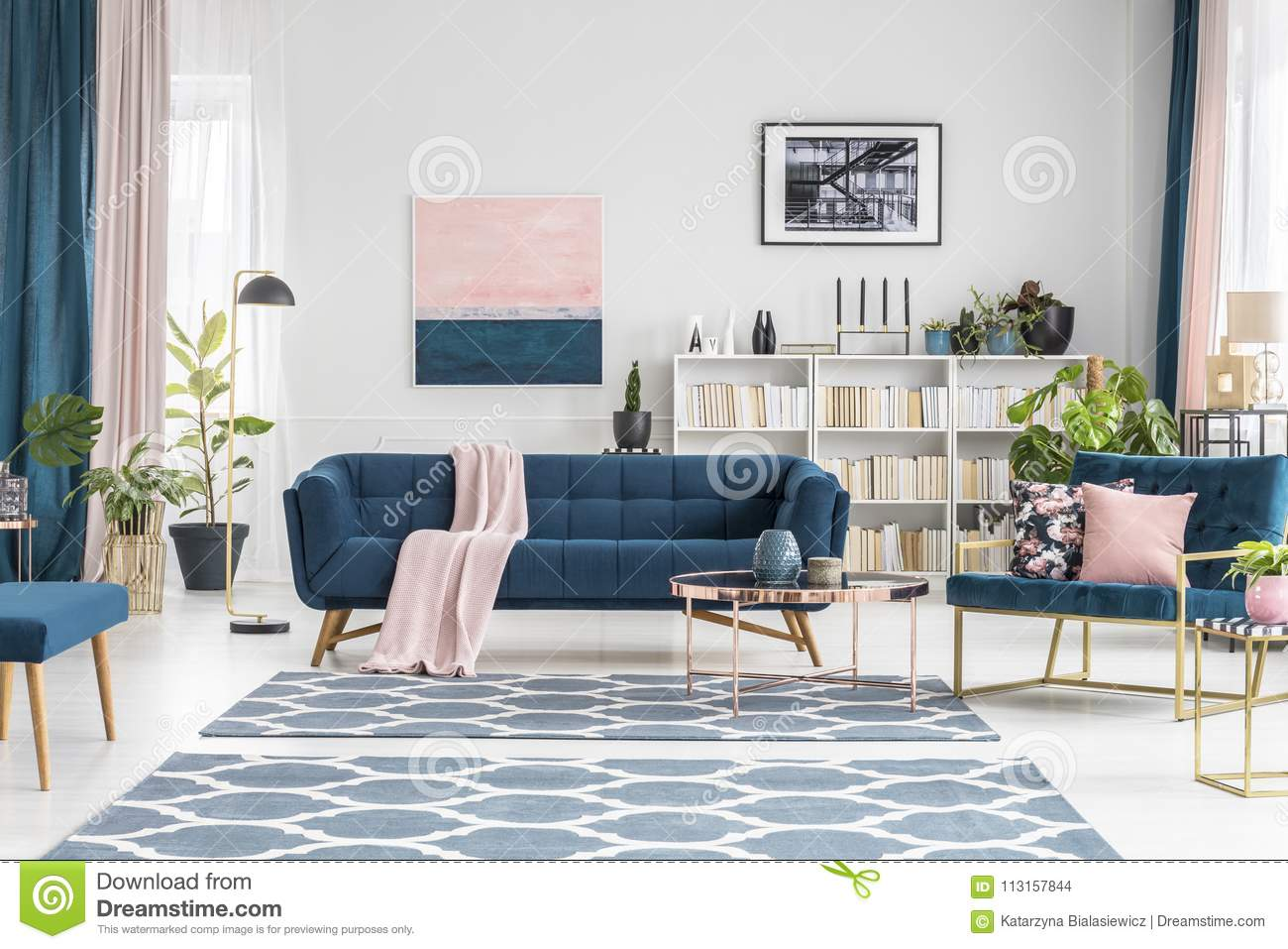 Download Pink And Blue Luxurious Interior Stock Photo   Image Of Pastel,  Bench: 113157844