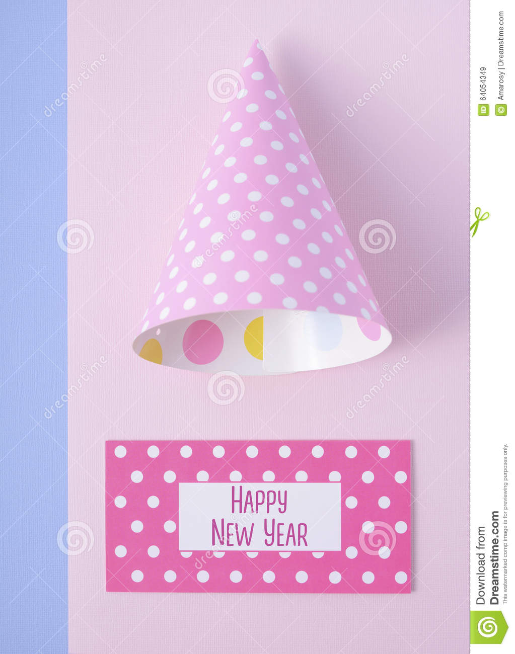 modern overhead happy new year party decorations in pink and blue theme with greeting text