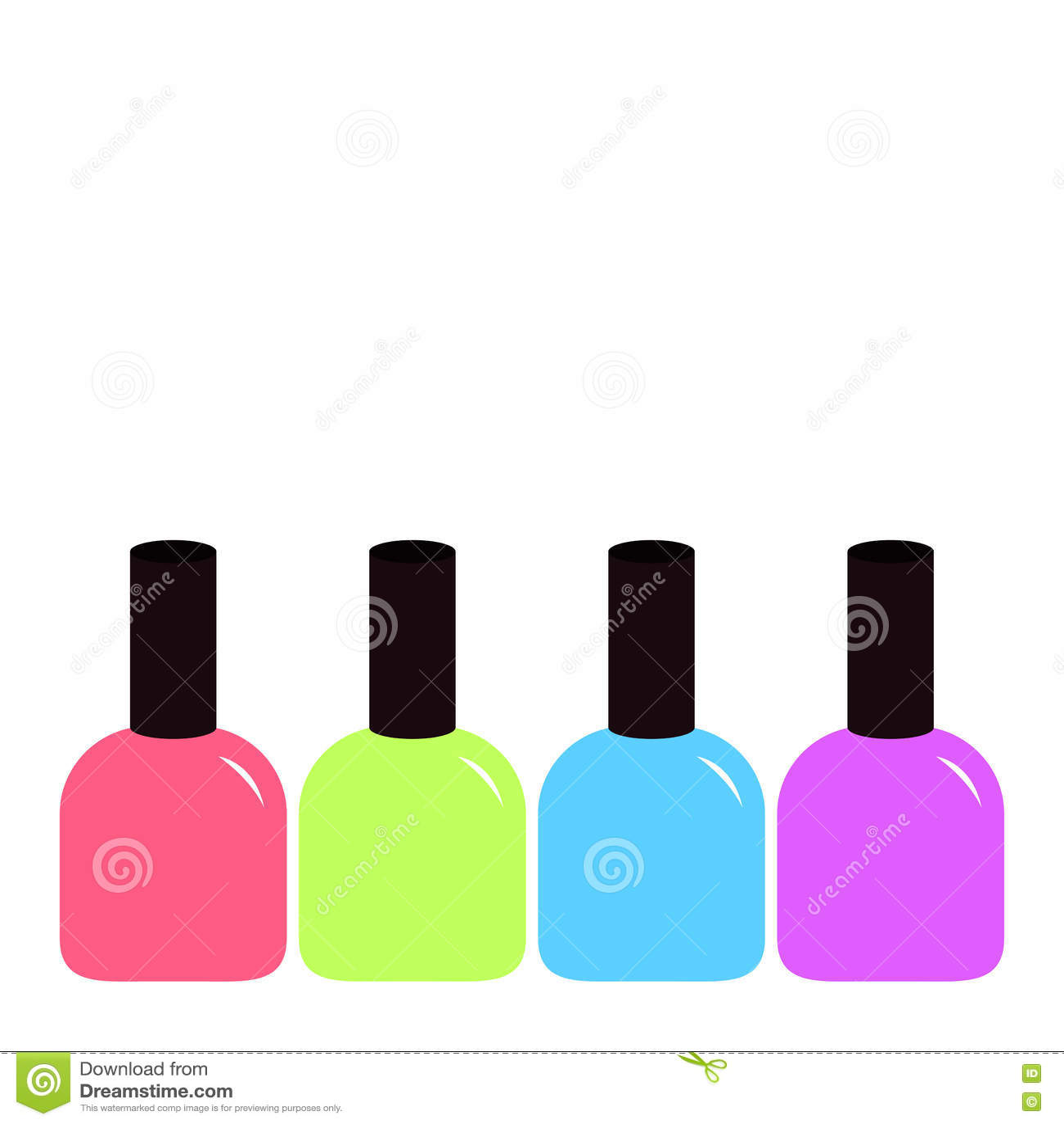 Pink Blue Violet, Green Nail Polish Varnish Icon Set White ...