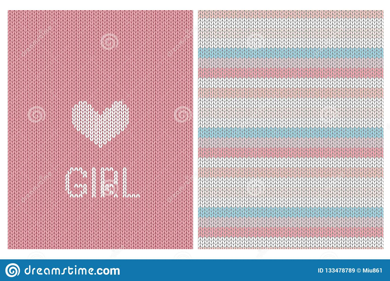 83a8b7172 Cute Knitted Fabric Style Vector Card And Striped Pattern. Baby ...