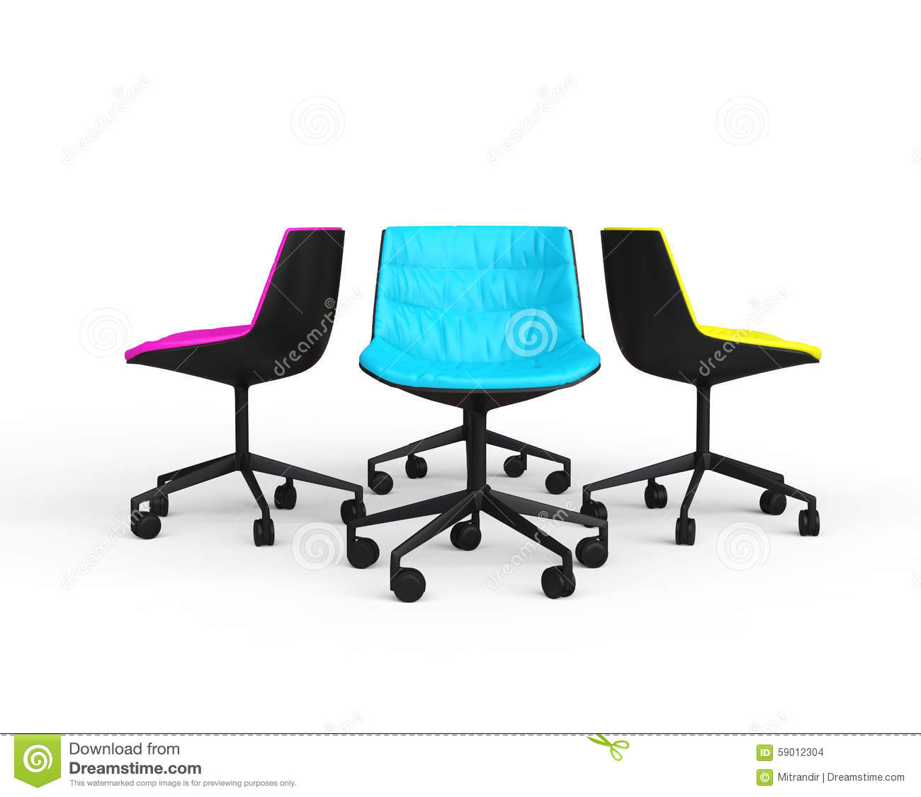 Blue And White Office: Pink, Blue And Yellow Modern Office Chairs Stock Photo